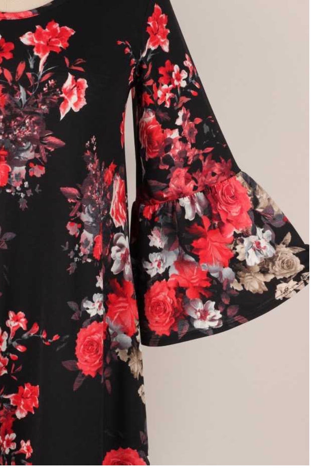 49 PQ-F {Feeling Snazzy} Black Red Floral Print Dress PLUS SIZE XL 2X 3X