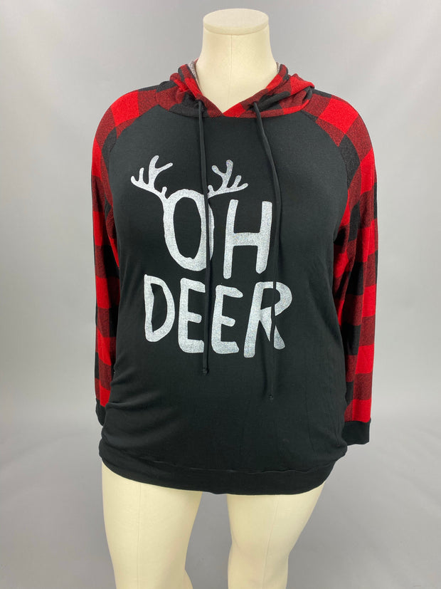 "32 HD-A {Oh Deer}  SALE!! Black ""Oh Deer"" Red Plaid Hoodie PLUS SIZE XL 2X 3X"