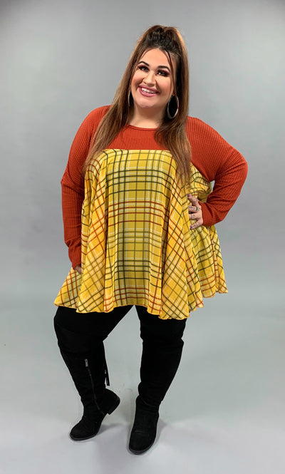 CP-A {Stick With Me} Rust Top with Mustard Plaid Contrast PLUS SIZE 1X/2X 2X/3X
