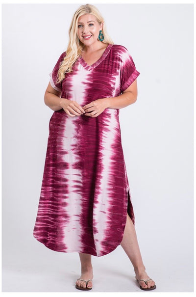LD-O {Best Intentions} Burgundy Ivory Bamboo Tie Dye Maxi Dress BUTTER SOFT PLUS SIZE 1X 2X 3X SALE!!