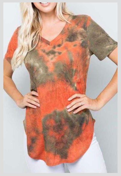 PSS-N {Deep Roots} Olive/Rust Tie Dye Waffle Tunic EXTENDED PLUS SIZE 4X 5X 6X