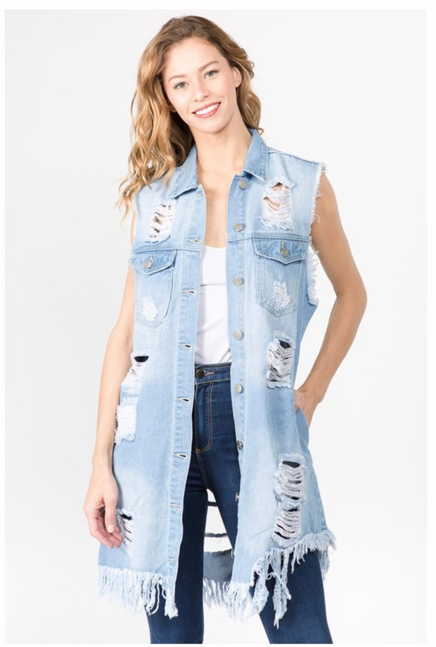 OT-M {Totally Ripped} Distressed Light Denim Vest W/Pockets PLUS SIZE 1X 2X 3X