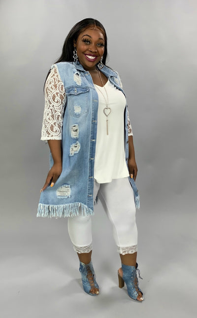 OT-M {Totally Ripped} Distressed Light Denim Vest W/Pockets PLUS SIZE 1X 2X 3X SALE!!