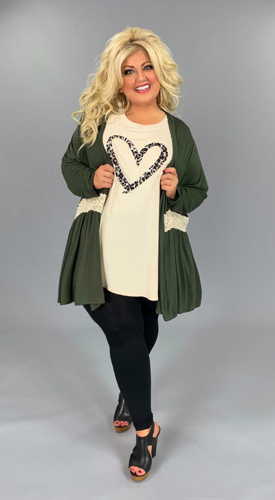 OT-N {Darling Appeal} Olive Cardigan with Crochet Detail EXTENDED PLUS SIZE 1X 2X 3X 4X 5X 6X  Curvy Brand