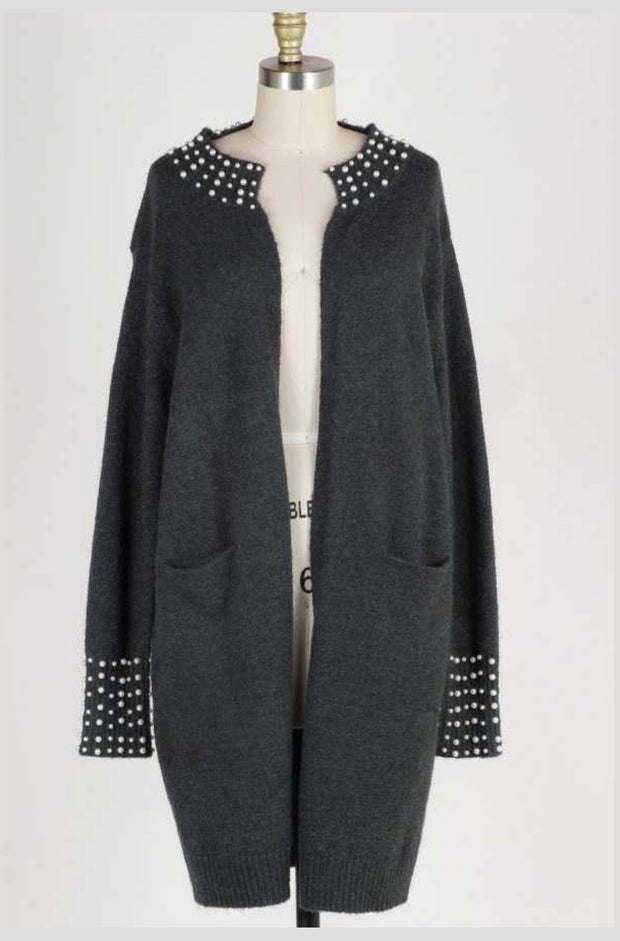 OT-S {Pearl Of Wisdom} Charcoal Sweater Cardigan Pearl Detail PLUS SIZE 1X 2X 3X