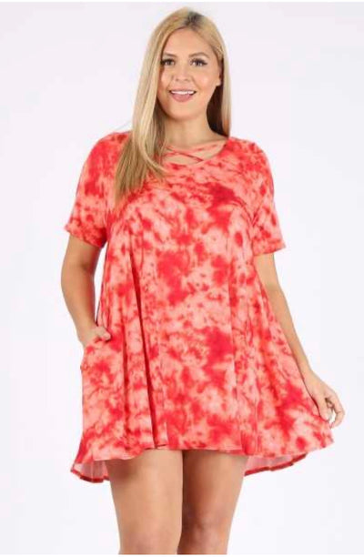 PSS-A {Blood Orange} Tie-Dye Tunic PLUS SIZE 1X 2X 3X