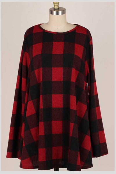 PLS-M {My Best Advice} Red Black Plaid Knit Long Sleeve Tunic EXTENDED PLUS SIZE 3X 4X 5X