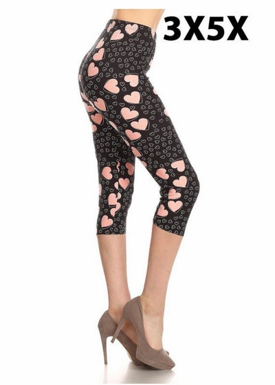 Leg-35 {Simple Love} Heart Printed Capri Leggings