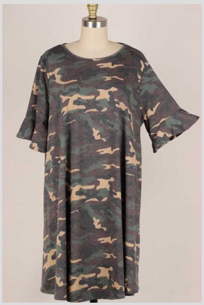 53 PSS-I  {Can You See} Green Camo Ruffled Sleeve Dress Extended Plus 3X 4X 5X