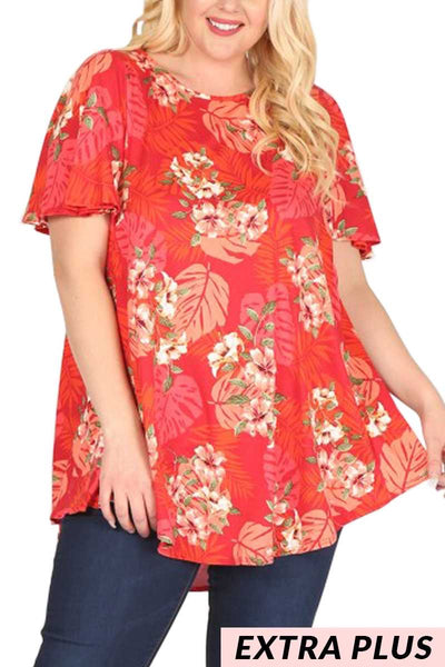PSS-J/T{Hawaiian Luau}Red/Pink/Coral Tropical Top EXTENDED PLUS SIZE 3X 4X 5X