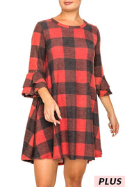 PQ-T {Harvest Season} Dusty Red Plaid Knit Ruffle Sleeve Tunic PLUS SIZE XL 2X 3X