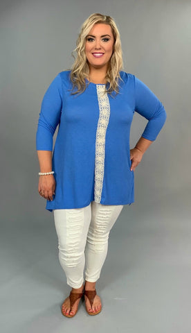 SD-A {Mark My Words} Blue Tunic with Crochet Detail Extended Plus