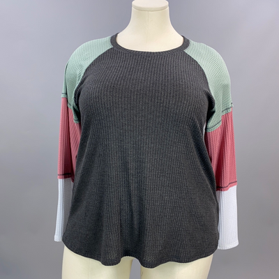 12-03 CP-A {Joyful Spirit} Charcoal Sage Rose Waffle Knit Top PLUS SIZE XL 2X 3X