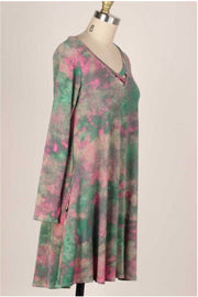 11 PLS-B {Gypsy Queen} SALE!! Green Pink Tie Dye Dress PLUS SIZE XL 2X 3X
