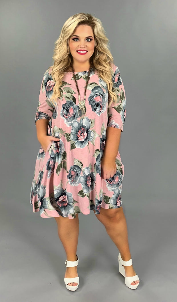 PQ-P {Baby I'm A Want You} Light Pink Dress with Gray/Olive Floral Design PLUS SIZE 1X 2X 3X