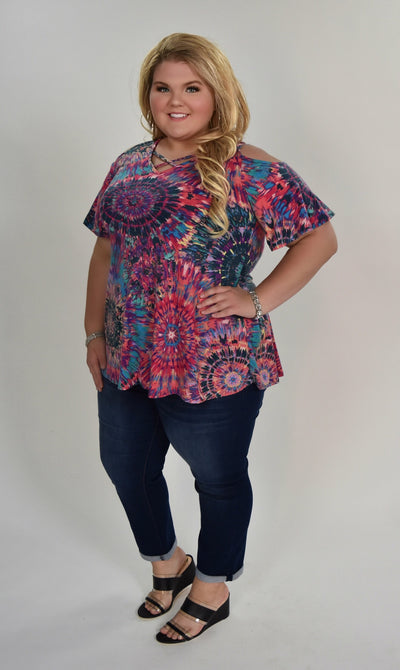 OS-G {Try It On} Starburst Crisscross Open Shoulder Tunic SALE!