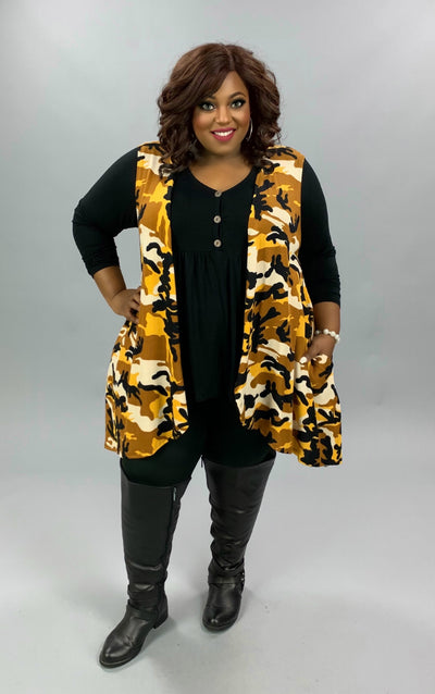 OT-Z {Along The Way} Mustard Black Tan Camo Print Knit Vest CURVY BRAND EXTENDED PLUS SIZE 3X 4X 5X 6X