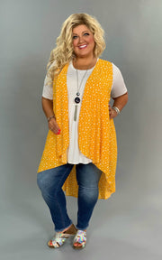 OT-A {Time Of My Life} Mustard/Ivory Printed Hi-Lo Vest Extended Plus
