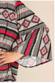 OT-C {Fall In Line} Black, Grey, Red Printed Bell Sleeve Cardigan PLUS SIZE 1X 2X 3X