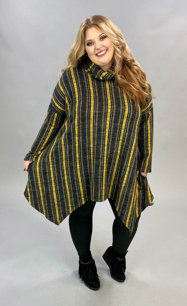 PQ-B {Time Together} Mustard Charcoal Stripe Cowl Neck Tunic *SALE!!* PLUS SIZE XL 2X 3X