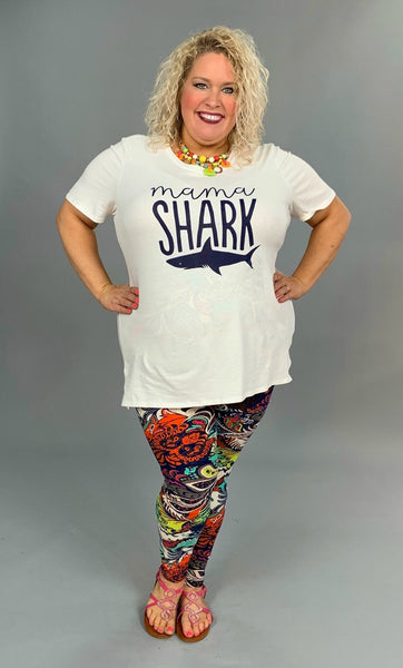 GT-J {MAMA SHARK} White/Navy Blue T-Shirt 100% Cotton