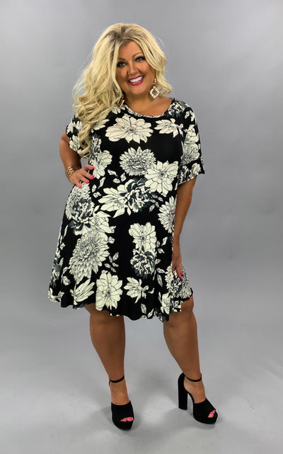 PSS-C {Color In The Lines} Black & Ivory Floral Print Dress EXTENDED PLUS SIZE 3X 4X 5X