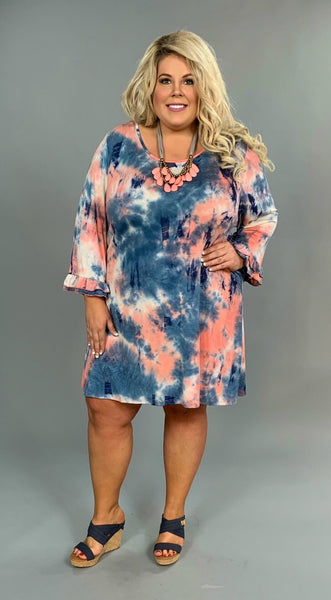 PQ-Z {Retro Flashback} Blue/Coral Tie-Dye Dress Ruffle Sleeves Extended Plus