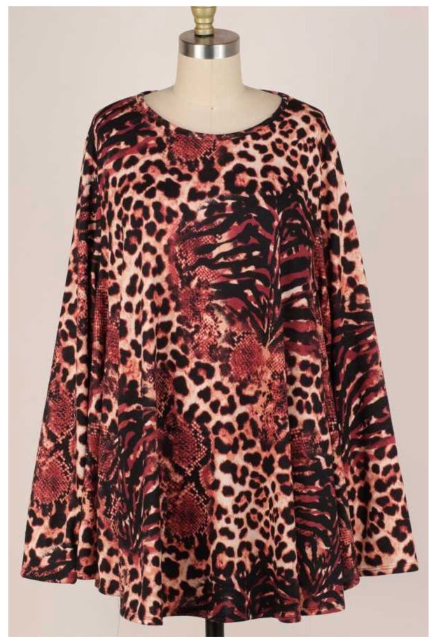 PLS-W {Paths We Take} SALE!! Rust Leopard Snake Skin Knit  EXTENDED PLUS SIZE 3X 4X 5X