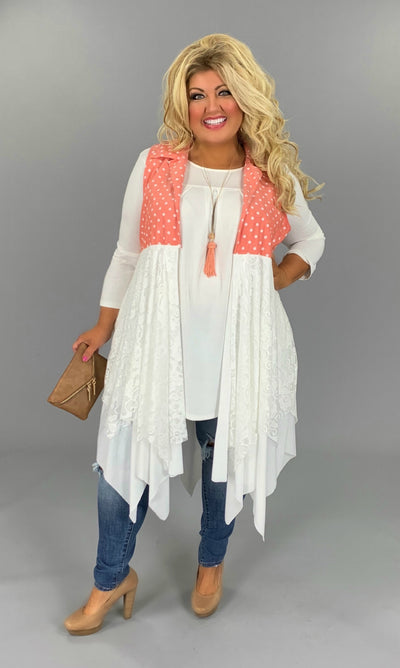 OT-B {Call The Dots} Coral Polka-Dot Lace Vest PLUS SIZE 1X 2X 3X SALE!!