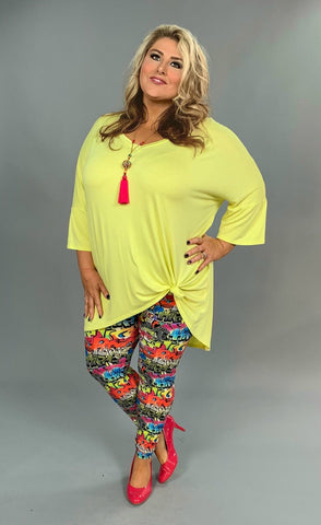 SQ-U {It's All Good} Bright Yellow Hi-Lo with V-Neck Extended Plus