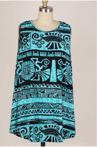 53 SV-D {Aztec Dreams} Teal and Black Aztec Tunic EXTENDED PLUS SIZE 1X 2X 3X