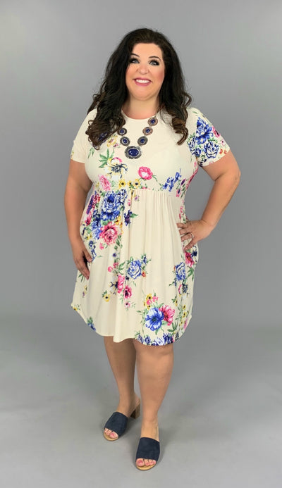 PSS-H {May Flowers} Ivory Dress w/ Pink & Blue Floral Print PLUS SIZE 1X 2X 3X