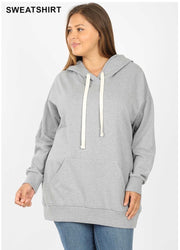 HD-P {Let's Be Casual} Gray Sweatshirt Hoodie with Front Pocket   SALE!!