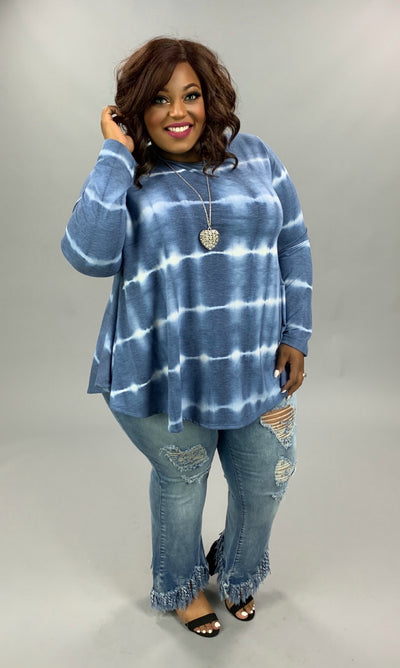 PLS-C {Clean & Simple} Blue & White Tie Dye Knit Tunic EXTENDED PLUS SIZE 3X 4X 5X