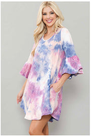 PQ-B {Big Reputation} Purple & Pink Tie Dye Bell Sleeve Dress BUTTER SOFT EXTENDED PLUS SIZE 3X 4X 5X 6X