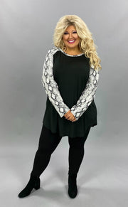 11-14 CP-A {Lies Don't Live} Black White Snake Skin Print Top PLUS SIZE 2X 3X 4X