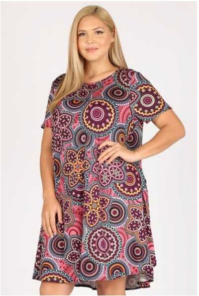 PSS-O {Looking Ahead} Paisley Print Dress W/Pockets EXTENDED PLUS SIZE 3X 4X 5X