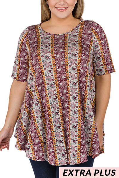PSS-L/A{All In A Row} Wine/Mustard Floral Top EXTENDED PLUS SIZE 3X 4X 5X