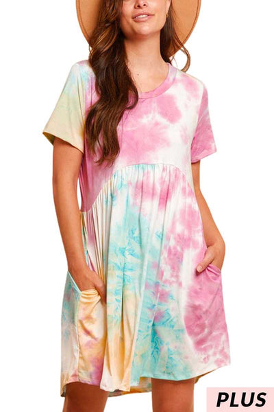54 PSS-Z {Sherbert Memories} Orange Purple Tie Dye Tunic PLUS SIZE  1X 2X 3X