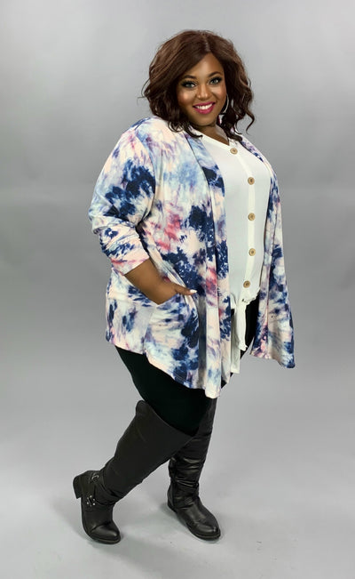 OT-C {True To You} Blue Purple Tie Dye Knit Cardigan EXTENDED PLUS SIZE 4X 5X 6X
