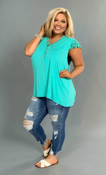 SSS-P {Simple Pleasures} Teal Top with Crochet Lace Detail