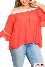 OS-C {Summer Dates} Umgee Bright Coral Tan Crochet Tunic PLUS SIZE XL 1X 2X SALE!!