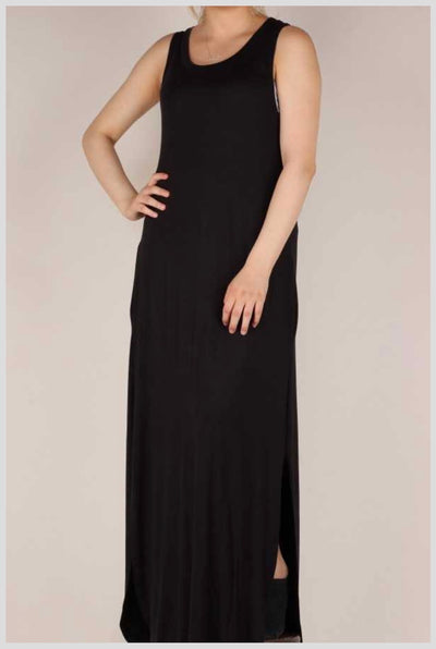 65 LD-L {Feels Like Summer} Solid Black Maxi w Side Splits PLUS SIZE 1X 2X 3X