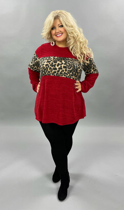 32 CP-H {Feeling Feisty}  SALE!! Red Leopard Contrast Knit Top PLUS SIZE XL 2X 3X
