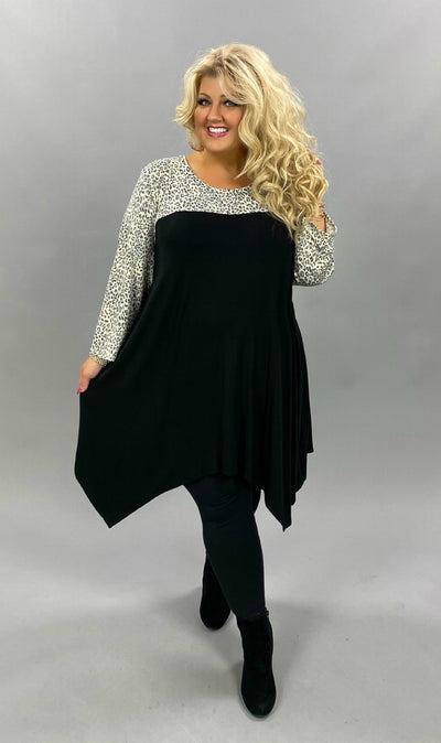 CP-F {One For The Books} Black Ivory Grey Leopard Tunic EXTENDED PLUS SIZE 4X 5X 6X