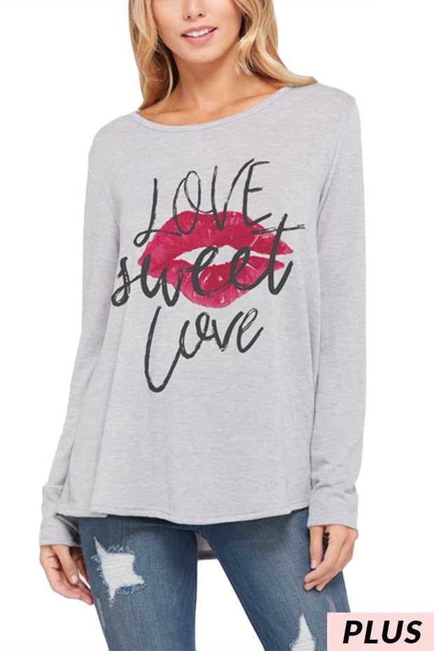 50 GT-B (Love Sweet Love) Grey Graphic Tunic with Lips 1X 2X 3X Plus Size