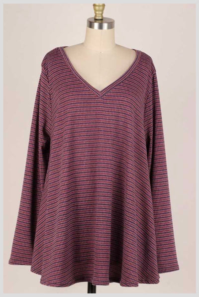 11-04 PLS-S {Not Changing} Mauve Navy Striped Top EXTENDED PLUS SIZE 3X 4X 5X