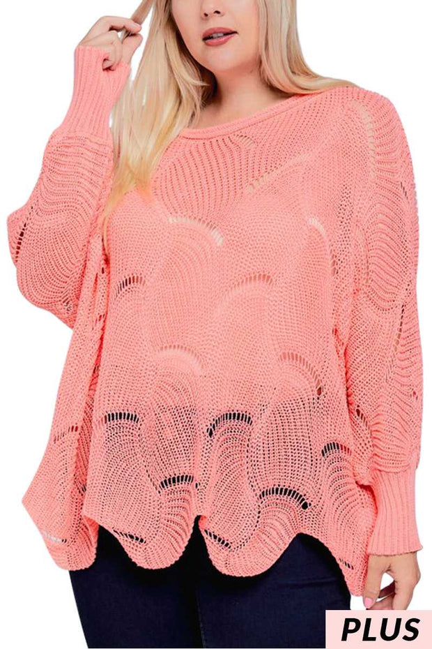 SLS-I {At My Best} Coral Oversized Scalloped Hem Knit Sweater PLUS SIZE 1X 2X 3X