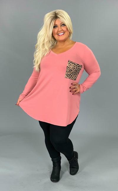 SD-C {Because Of You} Dusty Rose V-Neck Top Leopard Pocket