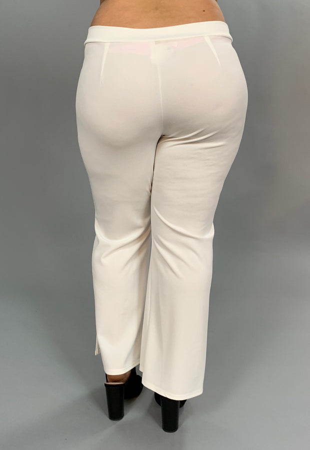 "BT-Q ""Embrace Elegance"" Ivory Pants With Bow Front Detail PLUS SIZE SALE!"
